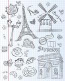 Γαλλία Παρίσι Μαύρο περίγραμμα Στοκ Εικόνα