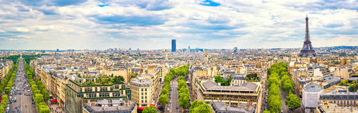 Γαλλία Παρίσι Πανοραμική άποψη από Arc de Triomphe πύργος του Άιφελ Στοκ Εικόνες