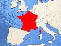 Γαλλία στο χάρτη ελεύθερη απεικόνιση δικαιώματος