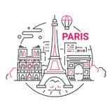 Γαλλία - σύγχρονη διανυσματική απεικόνιση ταξιδιού γραμμών απεικόνιση αποθεμάτων