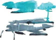Γαλαζοπράσινα και σκούρο μπλε χρώματα λεκέδων Watercolor σε μια λευκιά ΤΣΕ Στοκ εικόνες με δικαίωμα ελεύθερης χρήσης