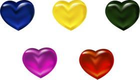 Γαλαζοπράσινο κίτρινο ρόδινο κόκκινο γυαλί καρδιών διανυσματική απεικόνιση