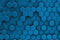 Γαλαζωπό υπόβαθρο με τη σύσταση hexagons Στοκ Εικόνες
