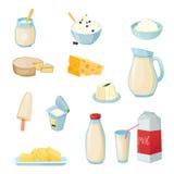 Γαλακτοκομικά προϊόντα καθορισμένα απεικόνιση αποθεμάτων