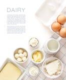 Γαλακτοκομικά προϊόντα σε έναν άσπρο πίνακα Στοκ φωτογραφία με δικαίωμα ελεύθερης χρήσης