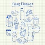Γαλακτοκομικά προϊόντα doodles - τακτοποιημένο έγγραφο Στοκ Εικόνες