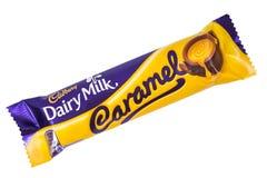 Γαλακτοκομικός φραγμός σοκολάτας καραμέλας γάλακτος Cadbury Στοκ φωτογραφίες με δικαίωμα ελεύθερης χρήσης