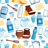 Γαλακτοκομικό διανυσματικό άνευ ραφής σχέδιο γαλακτοκομικών προϊόντων Στοκ φωτογραφία με δικαίωμα ελεύθερης χρήσης