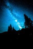 Γαλακτώδης γαλαξίας τρόπων πέρα από τα δέντρα στοκ εικόνες