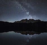 Γαλακτώδης τρόπος πέρα από Latemar, Dolomiti Στοκ Φωτογραφία