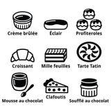 Γαλλικά εικονίδια επιδορπίων, ζύμης και κέικ - creme brulle, mousse σοκολάτας, souffle ελεύθερη απεικόνιση δικαιώματος