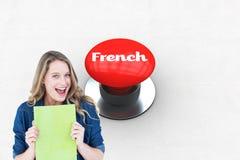 Γαλλικά ενάντια στο ψηφιακά παραγμένο κόκκινο κουμπί ώθησης διανυσματική απεικόνιση