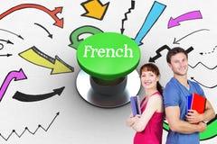 Γαλλικά ενάντια στο ψηφιακά παραγμένο πράσινο κουμπί ώθησης διανυσματική απεικόνιση