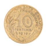 Γαλλικά 1978 νόμισμα δέκα σαντίμ. Στοκ φωτογραφίες με δικαίωμα ελεύθερης χρήσης