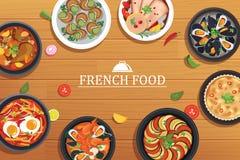 Γαλλικά τρόφιμα σε ένα ξύλινο επιτραπέζιο υπόβαθρο τοπ άποψης απεικόνιση αποθεμάτων