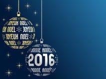 Γαλλικά Χαρούμενα Χριστούγεννα και υπόβαθρο καλής χρονιάς 2016 διανυσματική απεικόνιση
