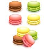 Γαλλικά macaroon κέικ που τίθενται στο άσπρο διάνυσμα διανυσματική απεικόνιση