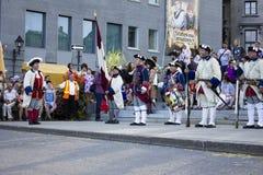 Γαλλικοί καναδικοί στρατιώτες στις παραδοσιακές στολές Στοκ Εικόνες