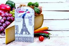 Γαλλικοί συστατικά τροφίμων και πύργος του Άιφελ Στοκ Εικόνες