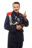 Γαλλικός γενικός με τις όμορφες διόπτρες εκμετάλλευσης mustache Στοκ Εικόνες