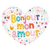 Γαλλικός διαμορφωμένος καρδιά τύπος ερωτοδουλειάς Bonjour mon που γράφει το διανυσματικό σχέδιο Στοκ Εικόνες