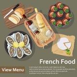 γαλλικός πίνακας τροφίμων ψαριών γευμάτων Επίπεδος βάλτε την απεικόνιση ύφους διανυσματική απεικόνιση