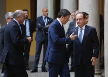 Γαλλικός Πρόεδρος Francois Hollande και πρωθυπουργός της Ιταλίας, Στοκ Εικόνες