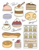 Γαλλικό αρτοποιείο Doodles Απεικόνιση αποθεμάτων