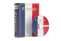 Γαλλικό βιβλίο με τη σημαία του δίσκου της Γαλλίας και του CD, τρισδιάστατη απόδοση Στοκ φωτογραφία με δικαίωμα ελεύθερης χρήσης