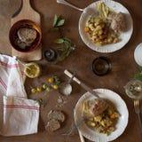 Γαλλικό γεύμα paupiettes χοιρινού κρέατος Στοκ φωτογραφία με δικαίωμα ελεύθερης χρήσης