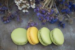 Γαλλικό επιδόρπιο macarons με το λουλούδι Στοκ εικόνα με δικαίωμα ελεύθερης χρήσης