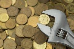 Γαλλικό κλειδί που κρατά ένα grosz Στοκ φωτογραφίες με δικαίωμα ελεύθερης χρήσης