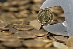 Γαλλικό κλειδί που κρατά ένα grosz Στοκ εικόνα με δικαίωμα ελεύθερης χρήσης