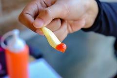 Γαλλικό τηγανισμένο και χέρι κοτόπουλου Στοκ φωτογραφία με δικαίωμα ελεύθερης χρήσης
