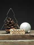 Γαλλικό υπόβαθρο Χαρούμενα Χριστούγεννας με τη μορφή δέντρων Στοκ Εικόνα