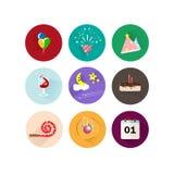 Γεγονός εορτασμού κομμάτων λογότυπων και συμβόλων εικονιδίων, μπαλόνι, κέικ birt ελεύθερη απεικόνιση δικαιώματος