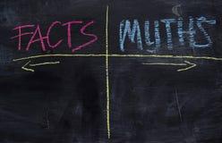 Γεγονότα ή μύθοι που γράφονται με την έννοια κιμωλίας χρώματος στον πίνακα στοκ εικόνα με δικαίωμα ελεύθερης χρήσης