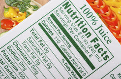Γεγονότα διατροφής Στοκ Εικόνες