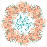 Γειά σου άνοιξη Διανυσματική ευχετήρια κάρτα στεφανιών λουλουδιών ζωηρόχρωμη ελεύθερη απεικόνιση δικαιώματος