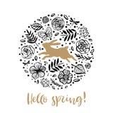 Γειά σου άνοιξη Τρέχοντας σκιαγραφία ενός κουνελιού στο λουλούδι circl απεικόνιση αποθεμάτων