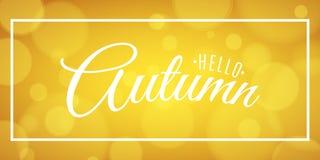 Γειά σου έμβλημα φθινοπώρου διαφημιστικό έμβλημα Ευχετήρια κάρτα πρόσκλησης Καλλιγραφία και εγγραφή στο πλαίσιο Φωτεινά κίτρινα έ Ελεύθερη απεικόνιση δικαιώματος