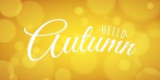 Γειά σου έμβλημα φθινοπώρου διαφημιστικό έμβλημα Ευχετήρια κάρτα πρόσκλησης Καλλιγραφία και εγγραφή Φωτεινά κίτρινα έντονα φω'τα  Απεικόνιση αποθεμάτων