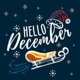 Γειά σου γραπτό χέρι απόσπασμα Δεκεμβρίου με το έλκηθρο και το καπέλο Άγιου Βασίλη Συρμένη χέρι χειμερινή εμπνευσμένη κάρτα διάνυ ελεύθερη απεικόνιση δικαιώματος