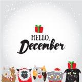 Γειά σου, Δεκέμβριος Ευχετήρια κάρτα διακοπών με τους χαριτωμένους χαρακτήρες και τα calligraphyelements γατών Σύγχρονη εγγραφή μ διανυσματική απεικόνιση