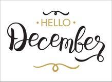 Γειά σου, Δεκέμβριος - τυπογραφία, εγγραφή χεριών, καλλιγραφία για το ημερολόγιο, βιβλία σημειώσεων, ημερολόγιο, ελεύθερη απεικόνιση δικαιώματος