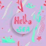 Γειά σου διανυσματική απεικόνιση θάλασσας της θαλάσσιας ζωής Άλγη, κοράλλια, αστερίας, χαλίκια, φυσαλίδες Επίπεδο ύφος, hand-draw ελεύθερη απεικόνιση δικαιώματος