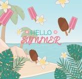 Γειά σου θερινή αφίσα με τα παγωτά και τη σκηνή παραλιών διανυσματική απεικόνιση