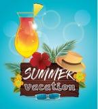 Γειά σου θερινή διανυσματική αφίσα απεικόνιση αποθεμάτων