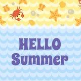 Γειά σου θερινή κάρτα Απεικόνιση αποθεμάτων