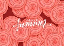 Γειά σου θερινό έμβλημα Όμορφα τριαντάφυλλα λουλουδιών στο ύφος της απεικόνισης τέχνης εγγράφου Στοκ Φωτογραφία